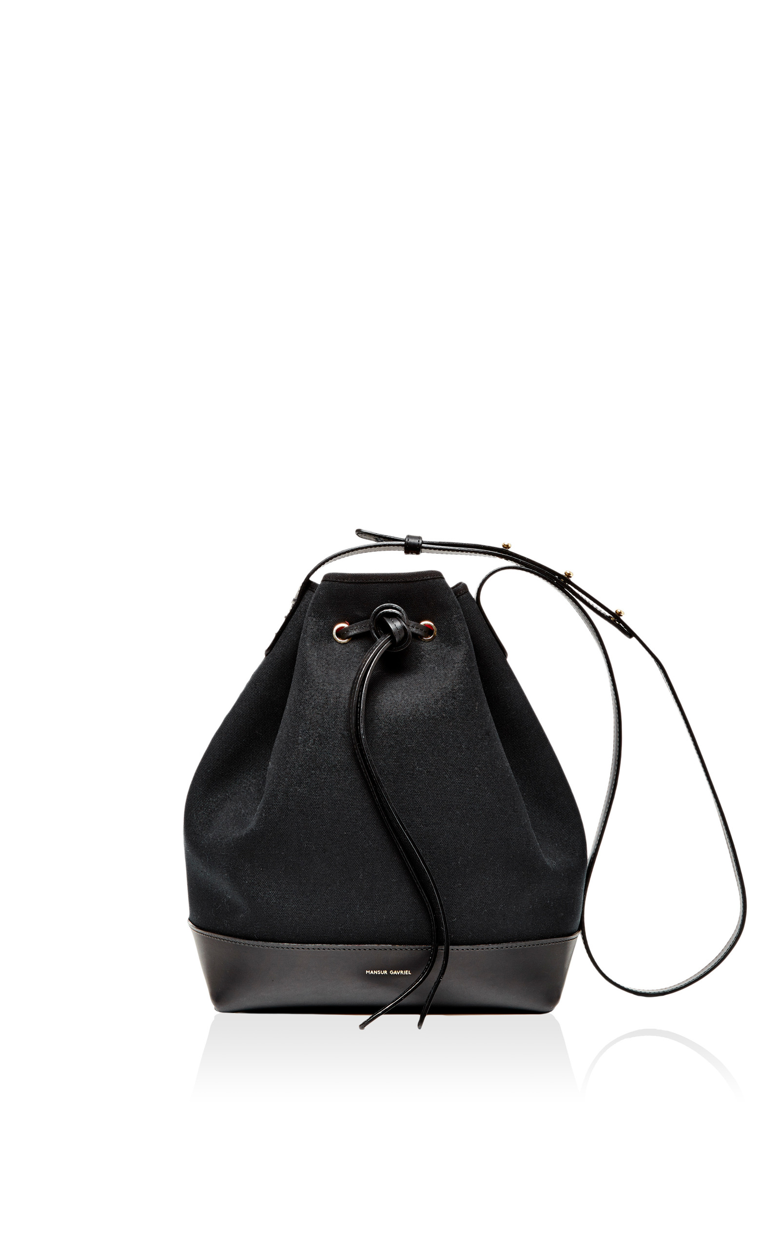 e7fe2563edcf Mansur GavrielBlack Canvas and Leather Bucket Bag. CLOSE. Loading