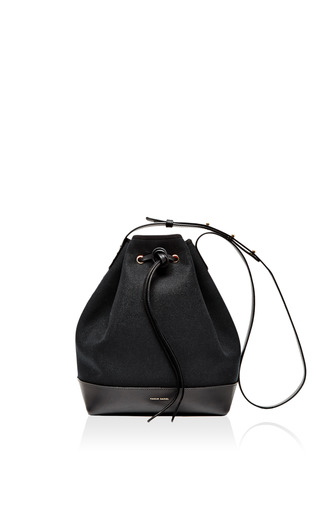 Medium mansur gavriel black canvas bucket bag in black with flamma interior