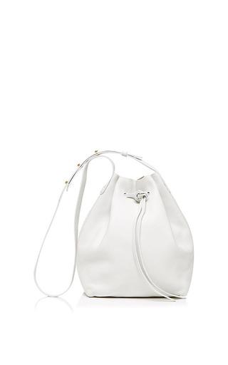 Medium mansur gavriel white tumble leather bucket bag in white