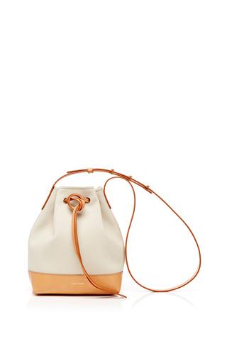 Medium mansur gavriel brown mini canvas bucket bag in creme with creme interior