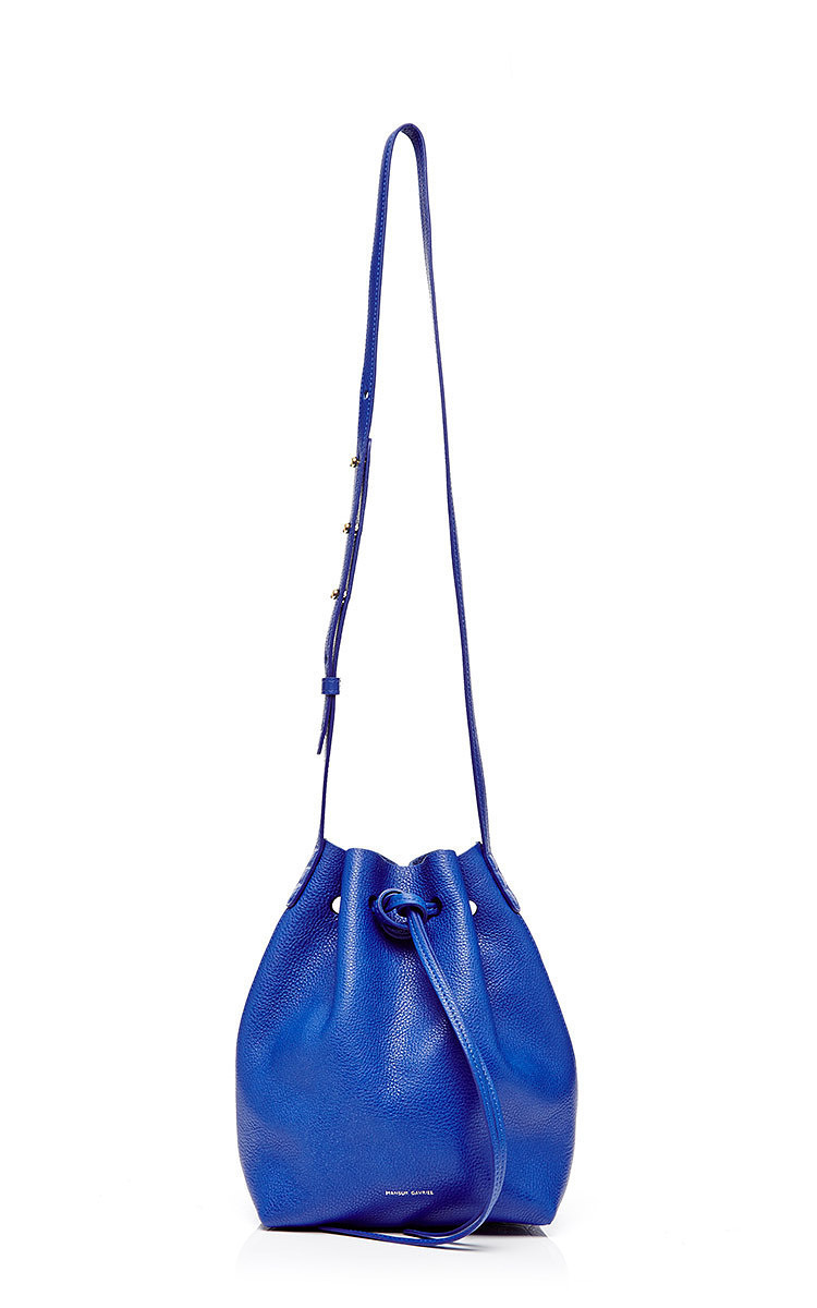 Mini Tumble Leather Bucket Bag In Royal By Mansur Moda