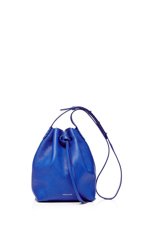 Medium mansur gavriel blue mini tumble leather bucket bag in royal