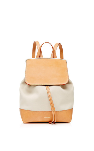 Medium mansur gavriel brown canvas backpack in creme and creme