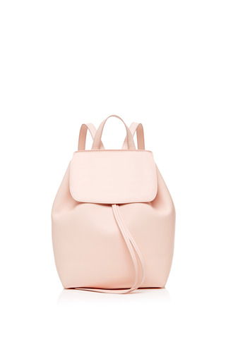 Medium mansur gavriel pink mini coated leather backpack in rosa with rosa interior