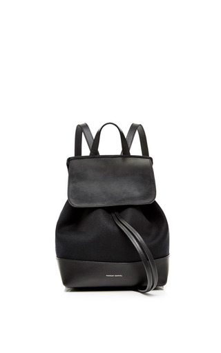 Medium mansur gavriel black canvas mini backpack in black with black interior