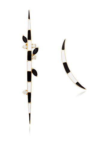 Medium holly dyment white crescent and flex dagger earrings in spinel and diamonds