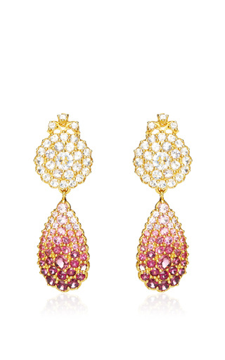 Medium sylvie corbelin red sapphire and tourmaline cluster earrings