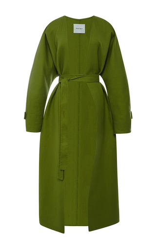 Medium peter som olive long linen coat