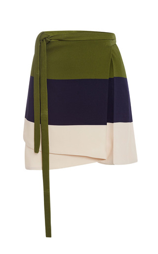 Medium peter som multi large stripe apron wrap skirt