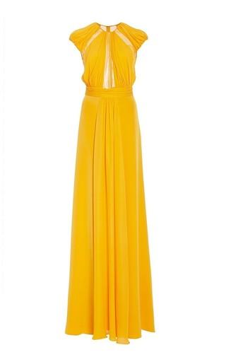 Medium cushnie et ochs yellow silk crepe double georgette and chiffon marigold dress 2