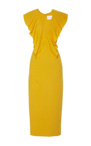 Medium cushnie et ochs yellow v neck stretch linen marigold dress