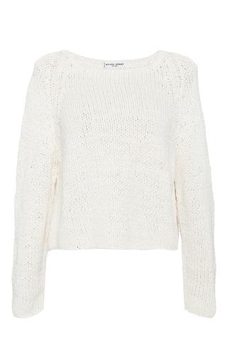 Medium apiece apart off white cropped cotton sweater in cream