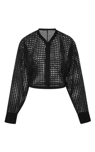 Medium tome white cotton eyelet crop shirt in black