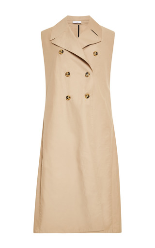 Medium tome brown cotton twill sleeveless trench coat