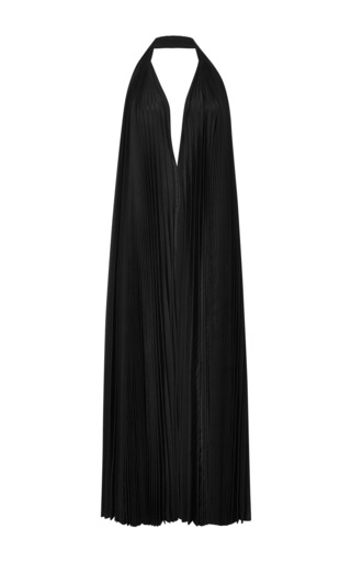 Medium tome black taffeta pleated halter dress