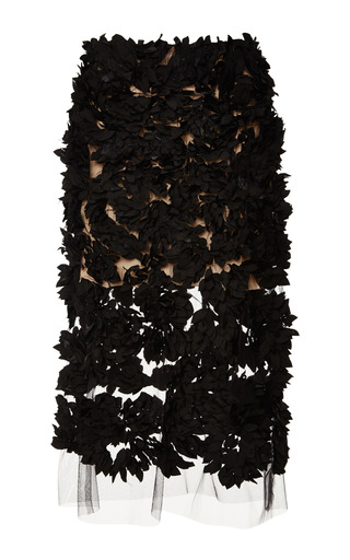 Medium tome black petal embroidery a line skirt