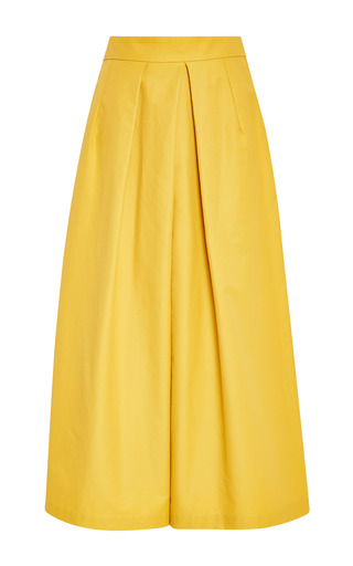 Medium tome yellow cotton twill culotte pant