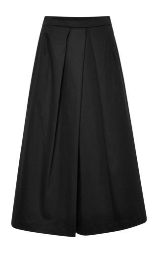 Medium tome black cotton sateen culotte in black