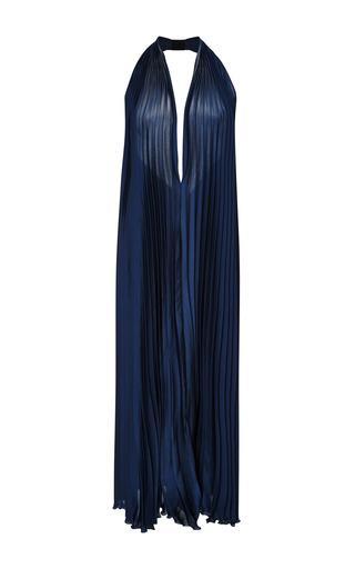 Medium tome navy satin pleated halter dress