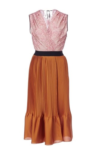 Medium tome red pink lace and pleated tank dress 2