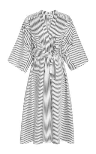 Medium tome stripe silk v neck shirtdress