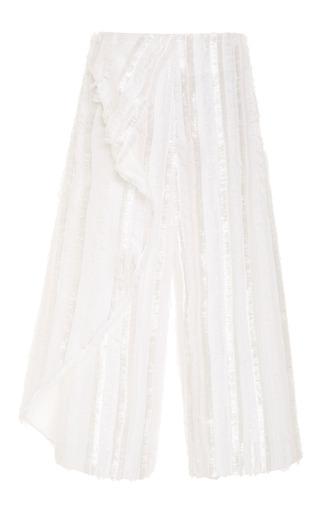 Medium thakoon white feather striped jacquard cropped pant