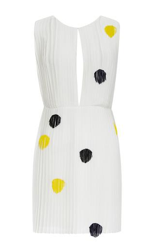 Medium thakoon white georgette plisse mini dress with fringe dot applique