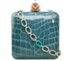 Light Blue Shiny Fine Crocodile Leather Clutch With A 9 K Yellow Gold With Diamonds Falcon Brooch And A Detachable 9 K Yellow Gold, Aquamarine And Turquoise Detachable Chain Necklace by OCTIUM Now Available on Moda Operandi