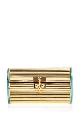Medium edie parker gold dani metal backlit clutch in gold and green