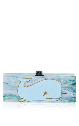 Medium edie parker blue flavia whale clutch