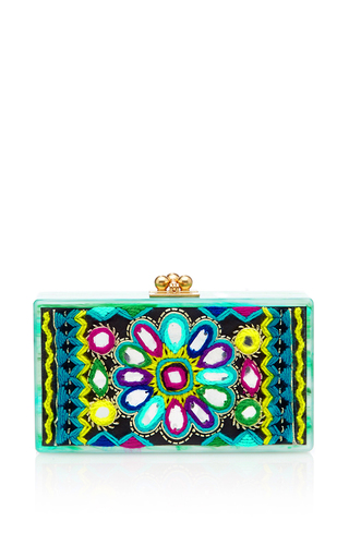 Medium edie parker multi jean emboidery inlay clutch 2