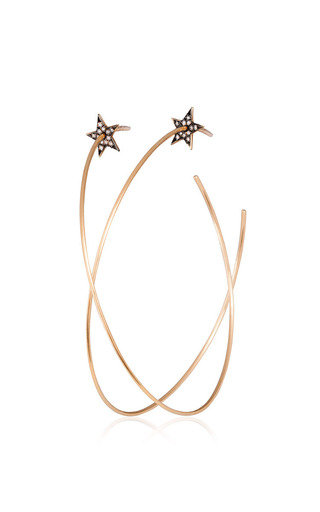 Medium diane kordas gold star hoop earrings with white diamonds