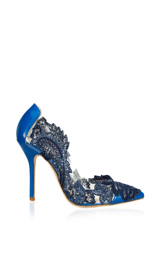 Medium oscar de la renta blue alyssa lace embroidered pump