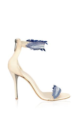 Medium oscar de la renta navy aubree ankle wrapped suede sandal