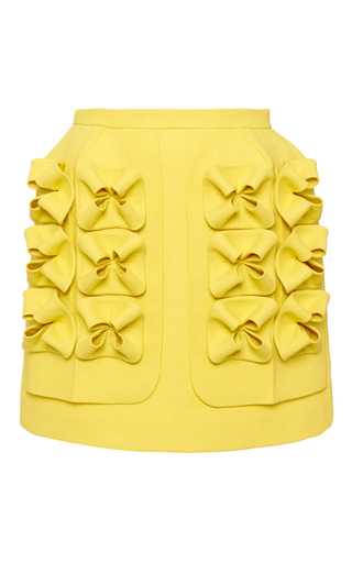 Medium delpozo yellow lemon yellow double paper twill skirt