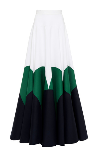 Medium delpozo navy dark navy blue double poplin skirt