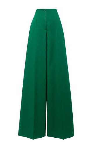 Medium delpozo green grass green double poplin long pant