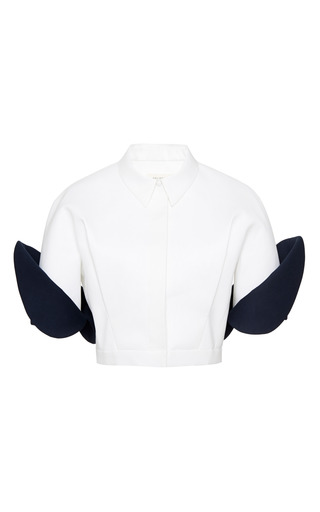 Medium delpozo navy dark navy blue double poplin jacket
