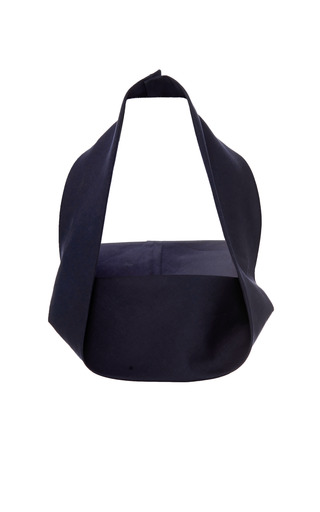 Medium delpozo navy dark navy blue double poplin top