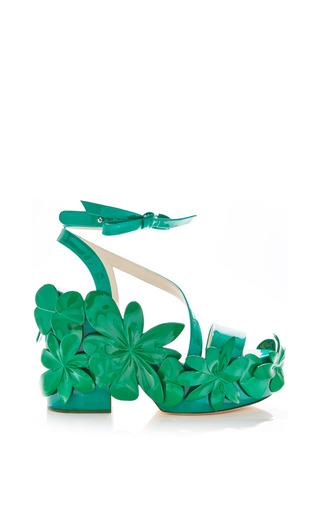Medium delpozo green grass green patent leather sandal