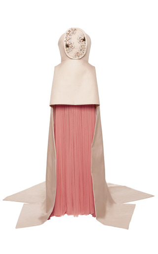 Medium delpozo pink pale pink double sided silk twill gown