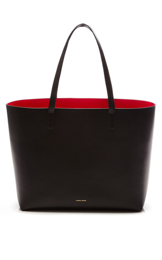 Medium mansur gavriel black large tote in black with flamma interior 2