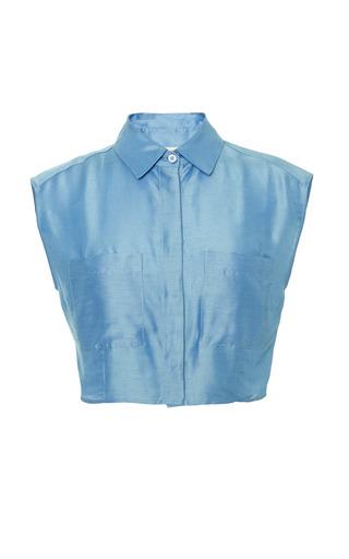Medium isa arfen blue cropped sleeveless shirt in lightweight shantung