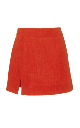 Medium isa arfen red mini skirt with slit in campari