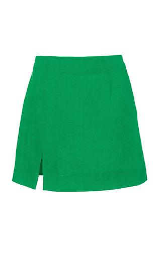 Medium isa arfen red mini skirt with slit in jamaica green 2