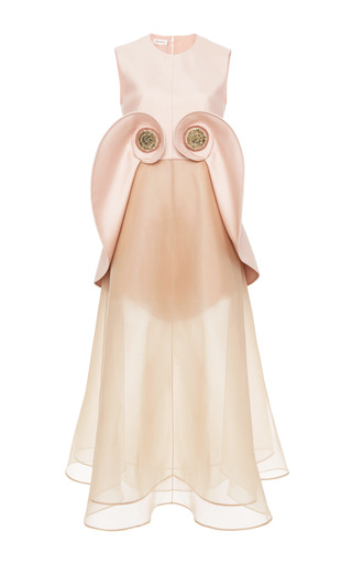 Medium delpozo pink pale pink silk twill tea length dress
