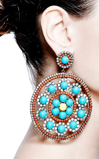 Vintage Kenneth Jay Lane Large Turquoise And Rhinestone Earrings by CAROLE TANENBAUM Now Available on Moda Operandi