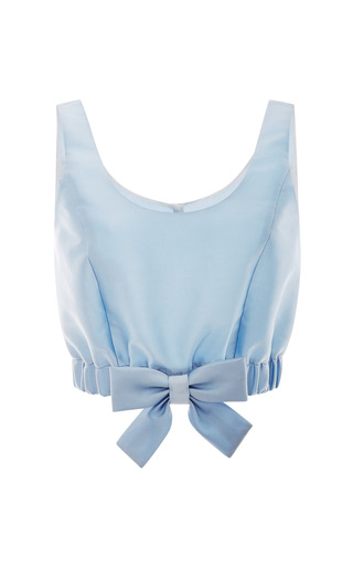 Medium honor blue light blue mikado ribbon hem cropped top