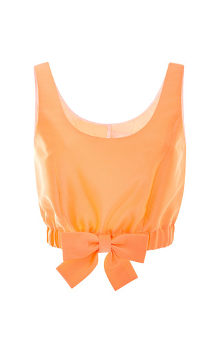 Medium honor orange neon cropped top with ribbon hem