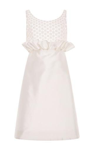 Medium honor white white mikado ruffle front dress with pearl embellishment